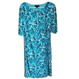 Connected Apparel   3/4 Sleeve Ruched Floral Dress